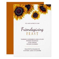 Modern Rustic Sunflowers Friendsgiving Feast Invitation Elegant Invitations, Custom Invitations, Party Invitations, Invitation Kits, Holiday Nail Art, Halloween Items, Modern Rustic, Sunflowers, Thanksgiving