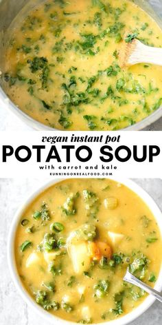 recipes easy Instant Pot Kale Potato Soup This hearty, creamy potato soup is so easy to make in the Instant Pot you'll love it for a simple, warm meal all Fall and Winter long. Serve with fresh sourdough bread for a real treat. Vegan Dinner Recipes, Vegan Dinners, Whole Food Recipes, Soup Recipes, Cooking Recipes, Healthy Recipes, Vegan Recipes Instant Pot, Vegan Crockpot Recipes, Yummy Vegan Meals