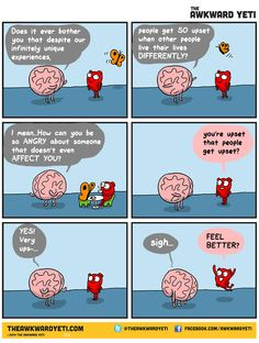 anger paradox - The Awkward Yeti Funny Cartoons, Funny Comics, Funny Memes, Hilarious, Jokes, Akward Yeti, The Awkward Yeti, Heart And Brain Comic, Life Comics