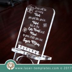 Cell Phone stand lX - Android Phone Holder - Ideas of Android Phone Holder - Cell phone stand laser cut and engrave inspirational Mothers Day message template pattern design Mothers day gift. Free Vector designs every day. Dashboard Phone Holder, Iphone Holder, Iphone Stand, Cell Phone Stand, Iphone Phone, Cell Phone Holder, Mother Day Message, Mother Day Gifts, Minnie Toys