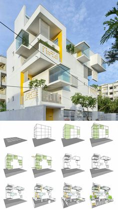 Never-Apart-ment designed by Spacefiction Studio, Hyderabad is one of the fastest growing cities in India. Architecture Design, Architecture Concept Diagram, Architecture Visualization, Futuristic Architecture, Residential Architecture, Building Architecture, Social Housing Architecture, Residential Building Design, School Architecture