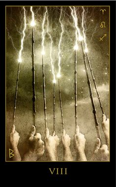 Eight of Wands Tattoo - Tarot meaning The Eight of Wands represents a very focused kind of motion and activity. The Eights are all about structure while the Wands are about raw energy. Thus, the structure of the Eight creates a channel through which the raw energy can flow. You are so sure about your goal that all distractions have been removed and you can devote yourself to the task with complete concentration, determination, and will.