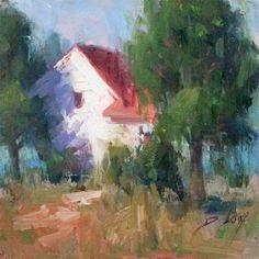 "day 35, Old Farmhouse 6x6"" #oil #painting $125. Blog Post http://beckyjoy.com/2013/day-35-abandoned-turn/  Becky Joy Fine Art"