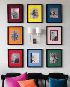 Your treasured photographs can be transformed into decorative objects that are as modern and arresting as anything you would find in a design store.Hanging multiple framed pictures so that they look orderly can be a challenge. The secret is to divide and conquer: Mark a horizontal midline on the wall, and hang all pictures above or below it.