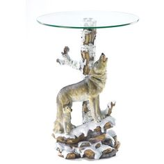 Wolf Table With Glass Tabletop via Polyvore featuring home, furniture, tables, accent tables, birchwood furniture, glass top table, birch furniture, glass top accent table y birch wood furniture