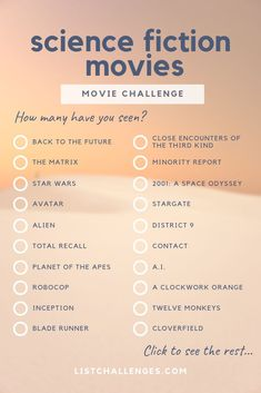 50 Must-See Science Fiction Movies ~ Movie Challenge. How many have you seen? Must-See Science Fiction Movies ~ Movie Challenge. How many have you seen? There are so many amazing science fiction movies that it's hard to include all the greats in a li Comedy Movie Quotes, Funny Comedy Movies, Movies Quotes, Funny Quotes, Life Quotes, Christmas Comedy Movies, Comedy Movies For Kids, Good Movies, List Of Movies