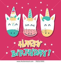 Cute unicorns. Greeting card with a happy birthday. Vector illustration