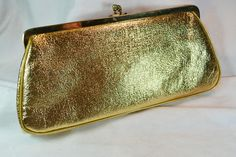 Julius Resnick Gold Faux Leather Evening Clutch with Attached Coin Purse Great Gift for Birthday or Anniversary Leather Clutch, Clutch Bag, Dinosaur Fabric, Mccalls Sewing Patterns, Vintage Purses, Two Piece Dress, Vintage Accessories, 1960s, Birthday Gifts