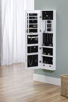 White Over-the-Door/Wall-Hang Mirrored Armoire