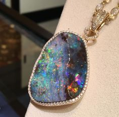 Katherine Jetter - Manhattan pendant II - 79.76ct Boulder Opal set in yellow gold with diamonds on a 22 inch yellow gold and moonstone chain