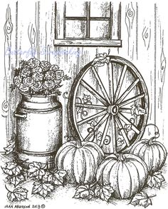 Fall Pumpkin Wagon Wheel Wood Mounted Rubber Stamp Northwoods Rubber Stamp New Fall Coloring Pages, Coloring Pages To Print, Printable Coloring Pages, Adult Coloring Pages, Coloring Books, Wood Burning Patterns, Wood Burning Art, Pencil Drawings, Art Drawings
