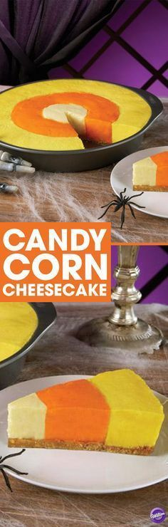 Candy Corn Cheesecake Recipe - It's the best of both worlds. A delicious cheesecake made to resemble Halloween candy corn. The magic begins with the Wilton Checkerboard Cake Pan. It allows three different color batters to be baked at the same time. Sac Halloween, Halloween Baking, Halloween Goodies, Halloween Desserts, Halloween Food For Party, Halloween Candy, Happy Halloween, Halloween 2017, Halloween Stuff