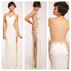 This dress is absolutely breathtaking! Beautiful long jersey gown features a sheer illusion back and gold detail adornments. Jovani JVN99392. Available in Ivory/Nude, Black/Nude and Red/Nude. mia bella couture. jovani. jovani fashions. JVN. jersey. fitted. floor length. sleeveless. beautiful. stunning. gorgeous. fashion. style. love.