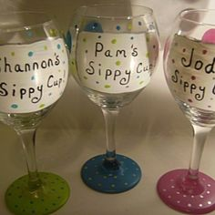 Name Your Glass and Color..Dots Hand Painted Wine Glass Bridesmai......