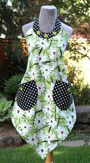 "Boho Four Corners apron by VanillaHouseDesigns.com (216). This bohemian version of Vanilla House's signature pattern ""Four Corners"" has a scooped neckline and big pockets!"