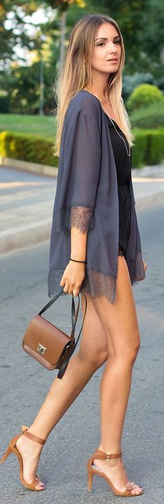 H&m Grey Lace Trim Lingerie Inspired Kimono