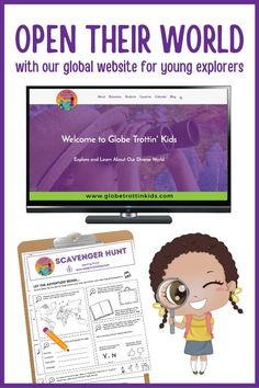 Our free kid-friendly global website invites young explorers to learn about world geography and cultures through maps, photos, videos, games, and activities. Introduce #GlobeTrottinKids with a fun #scavengerhunt and discover all it has to offer! #Geography #maps #culturalawareness #globaled #countries #countryresearch #websiteforkids #classroom #homeschool #socialstudies #distancelearning #elementary World Geography Games, Geography For Kids, Multicultural Classroom, Kids Globe, Parent Resources, Kids Online, Globes, Teaching Kids, Homeschooling