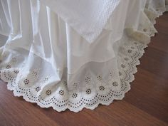 Lace Bed Skirts Dust Ruffles | cotton Dust ruffle - Bedskirt - Bed skirt scalloped edge eyelet - lace ...