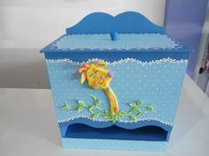 Porta fraldas de MDF decorado com biscuit