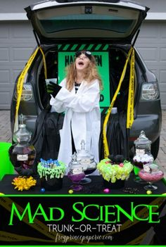 Science Lab Trunk-or-Treat Ideas Mad Science Lab Trunk or Treat ideas for Halloween, or Mad Scientist party inspiration!Mad Science Lab Trunk or Treat ideas for Halloween, or Mad Scientist party inspiration! Halloween Carnival, Halloween Treats, Halloween Diy, Halloween 2020, Halloween Stuff, Halloween Decorations, Halloween Camping, Kids Carnival, Halloween Goodies