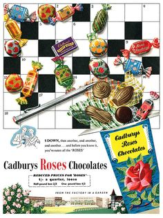 A fun Cadbury's Roses advertisement. Used to be our family fave; loved the pretty wrappings Vintage Sweets, Vintage Candy, Vintage Holiday, Retro Vintage, Vintage Food, Retro Food, Retro Advertising, Retro Ads, Vintage Advertisements