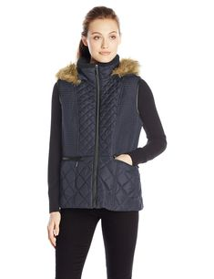Fleet Street Ltd. Women's Quilted Down Vest, Navy, X-Large. Horizontal top panel stitching combined with diamond graduated quilt detail to create a more slenderized fit. Polyurethane detail along center front zipper and horizontal pocket welt. Berber lined collar to create extra warmth on cold days. Zipper closure under front polyurethane pocket welt.