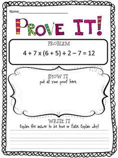 PROVE IT! {5TH GRADE OPERATIONS & ALGEBRAIC THINKING} - TeachersPayTeachers.com