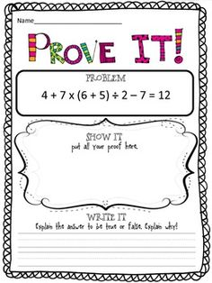 PROVE IT! {5TH GRADE COMMON CORE MATH PROBLEMS} - TeachersPayTeachers.com