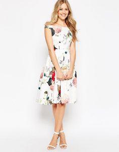 Floral tea length dress, love the off-the-shoulder neckline
