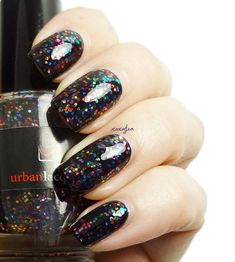 """Rainbow glitter nail polish - Party In Your Polish - vegan multi color glitter in a SHEER black base. New Years nail trends Urban Lacquer """"Party in My Polish"""" Nail Polish Party, Party Nails, Glitter Nail Polish, Green Nails, Black Nails, Black Polish, New Year's Nails, Hair And Nails, Nagellack Party"""