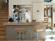 Cuisine ouverte / Opened kitchen : http://www.maison-deco.com/cuisine/deco-cuisine/7-cuisines-ouvertes-bien-integrees