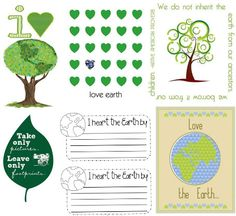 6 Earth Day Printables for Project Life/ Project365 ................................................................love the earth, leave only footprints, heart trees