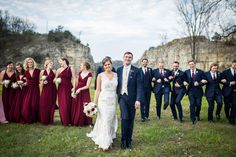 Fall bridal party outdoor wedding photos. Burgundy, pink, bridesmaid dresses and navy suits for the groom and groomsmen