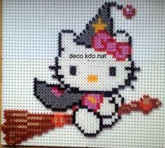 Hello Kitty witch hama perler by deco. Chat Hello Kitty, Hello Kitty Images, Hello Kitty Items, Perler Bead Templates, Diy Perler Beads, Perler Bead Art, Pearler Beads, Motifs Perler, Perler Patterns
