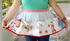diy retro apron DIY Upcycled Vintage Tablecloth Apron  a little deeper on the pockets and this would make a great apron for collecting eggs.