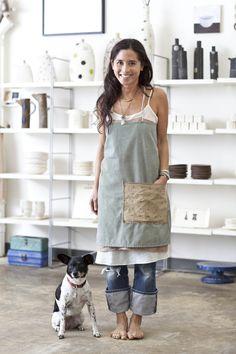 rae dunn's ceramic studio / big pocket apron... confession: i am an apron addict. I love aprons.