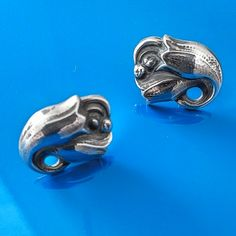 """VINTAGE GEORG JENSEN PIERCED EARRINGS # 100, STERLING SILVER. Condition:fine vintage, preowned Year: after 1945 Size:7/8"""" b y5/8"""""""