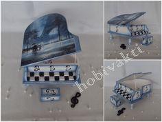 ♥♥ Hobi Vakti ♥♥: Ahşap Piyano Kutu (Mavi Beyaz) 2