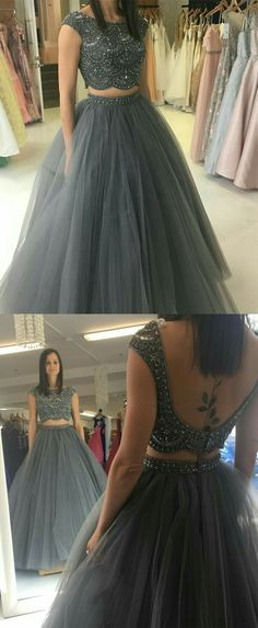 long prom dresses For Teens Christmas Gifts 2018 two piece grey long prom dress, beads party dress, ball gown, sweet 16 dress School Dance Dresses, Prom Dresses For Teens, Lehenga Designs, Indian Gowns Dresses, Evening Dresses, Net Dresses, Pagent Dresses, Indian Designer Outfits, Designer Dresses