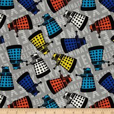 BBC Doctor Who Dalek Grey from @fabricdotcom  Designed by BBC and licensed to Springs Creative Products, this cotton print fabric is perfect for quilting, apparel, and home decor accents. Colors include black, orange, yellow, white, shades of blue, shades of grey. Due to licensing restrictions, this item can only be shipped to USA, Puerto Rico, and Canada.