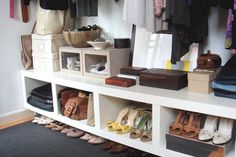 Sideways Bookshelf Storage  when you lay them sideways, they can be used for storing shoes, purses or anything else you need. Add baskets to really make your closet look organized.