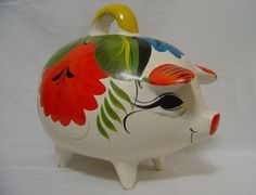 RARE HUGE VINTAGE 1950s MID CENTURY ERA MEXICAN HANDMADE HAND PAINTED POTTERY / CHALKWARE PIG HOG PIGGY COIN MONEY BANK (15 inches long)!