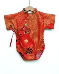 Baby Kimono One piece in RED DRAGON 0 through 24 months- baby outfit baby wrap cool boys japanese