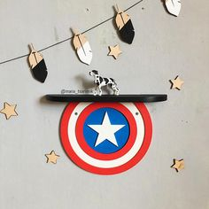 Shelf Captain America (17.7 in x 3.4 in) If you need a different size or color, i can do it)) Ideal for children or fans of comic book characters. You can hang it on the wall for example. It also makes a beautiful gift.