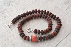 Brown Lava Rock Santorini Necklace, Brown & Red Jewelry, Coral and Lava, Casual Necklace, Boho Chic Contemporary Jewelry, Earthy Necklace on Etsy, $101.77