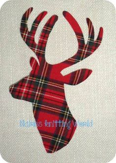 1 x 8in Scottish Stag Head, Red Tartan Cotton fabric,Cut Out,Iron On,Appliqué 2 £2.50 plus P&P