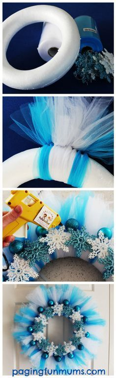 Make your own Frozen Wreath Elsa would be so proud is part of Winter crafts Wreath - Make your own Frozen Wreath Elsa would be so proud a beautiful DIY wreath that you can make for Christmas, Birthday Parties or just because! Wreath Crafts, Diy Wreath, Christmas Projects, Holiday Crafts, Wreath Ideas, Snowflake Wreath, Wreath Making, Tulle Wreath Tutorial, Tulle Crafts