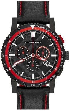 Burberry Black Dial Stainless Steel Leather Chrono Quartz Men's Watch BU9803