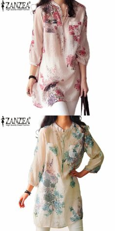 Zanzea Fashion Blusas Femininas 2016 Summer Women Blouses Blouse Casual Floral Print Long Blouse Tops Shirt Plus Size 5XL
