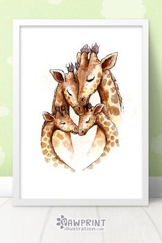 Giraffe Safari Family of Four Nursery Art Print Giraffe Decor, Giraffe Art, Baby Giraffe Nursery, Baby Giraffes, Nursery Prints, Nursery Art, Giraffe Tattoos, Baby Giraffe Tattoo, Mothers Day Drawings